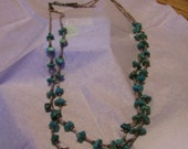 Beautiful two strand nugget turquoise necklace  NICE