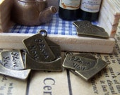 10 pcs of Antique Bronze I Love You Letter Charms 16x18mm