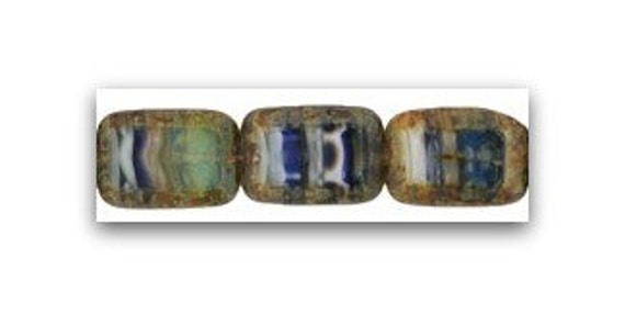 75 Pcs Czech HurriCane Glass Rustic Chinook Winds Polished Rectangles 12mm