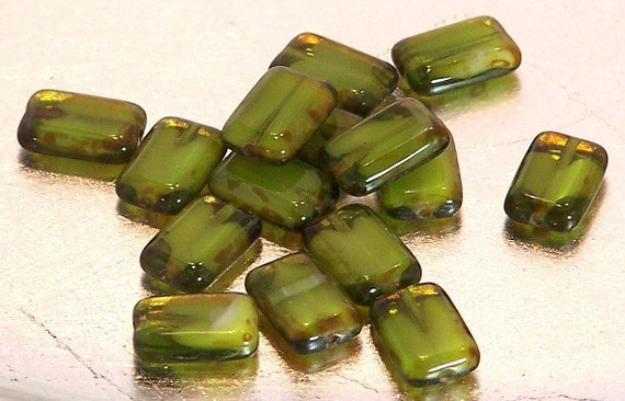 15 Green - White - Picasso Czech Glass Polished Rectangles