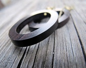 Tiger Ebony Earrings Antiqued Brass and Wood Hoops