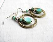 Turquoise Hoop Earrings Antique Brass Czech Glass Tribal