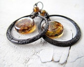 Hoop Earrings: Antiqued Black Brass Circles with Czech Glass Coins Amber Swirls