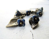 Flower Earrings Blue: Antique Brass Leaf Dangle with Cornflower Czech Glass Flowers
