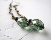 Teal Branch Earrings: Antique Brass with Czech Glass Olive Drop