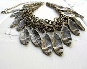 Layered  Leaf Necklace:  Multi Strand Antique Brass Chain Choker with Leaves