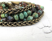 Beaded Wrap Bracelet/ Necklace Antique Brass with Czech Glass Seed Beads: Bohemian Gypsy