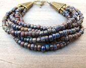 Layered Bead Bracelet Tribal Mix Czech Glass with Antique Brass:  Blue Moon