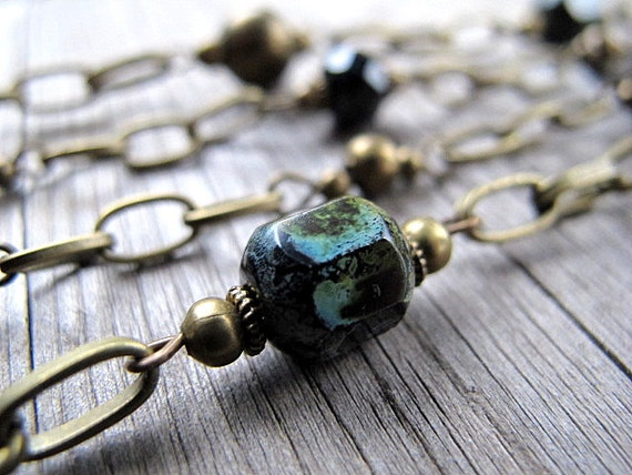 Reserved -- Long Layered Necklace in Black Czech Glass and Antique Brass