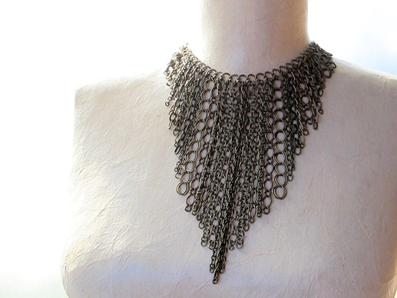 Chain Fringe Necklace: Chain Fall with Antique Brass Chains