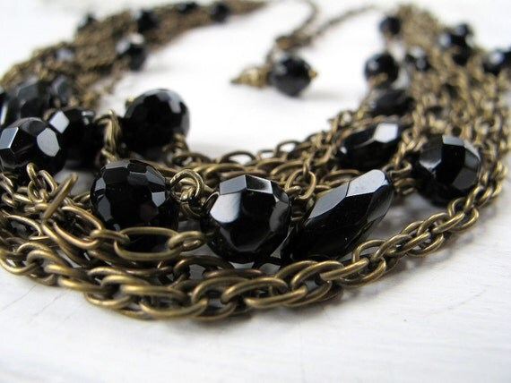 Black Glass Necklace Antique Bronze Tangle Spring Sale