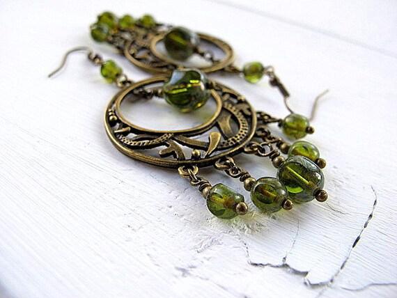 Green Bohemian Chandelier Earrings: Antique Brass with Czech Glass Dangles