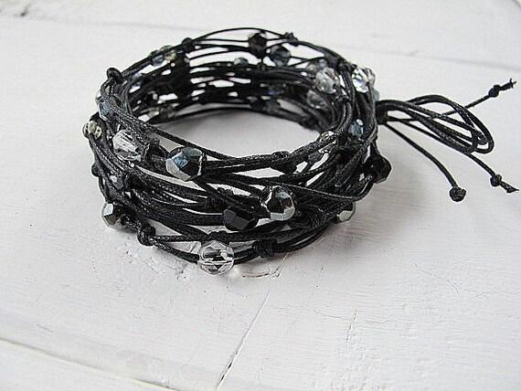 Linen Wrap Necklace Convertible  Bracelet Anklet Belt: Vegetarian Hippie Smoke and Glass