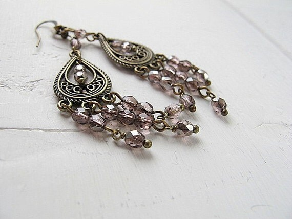Pink Czech Chandelier Earrings: Antique Brass with Fire Polished Glass