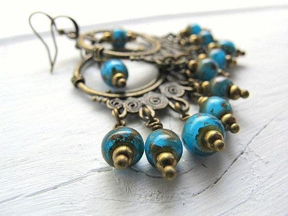 Bohemian Turquoise Chandelier Earrings Antique Brass with Czech Picasso Glass