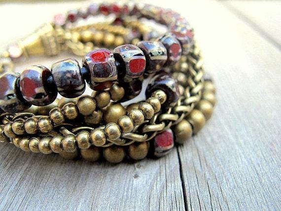Beaded Layered Bracelet Antique Brass Leather Czech Glass: Voodoo Child