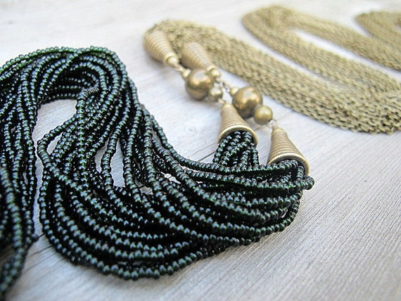 RESERVED Black Wrap Necklace Belt Convertible Lariat of Antique Brass with Black Czech Glass Seed Beads: Zelda