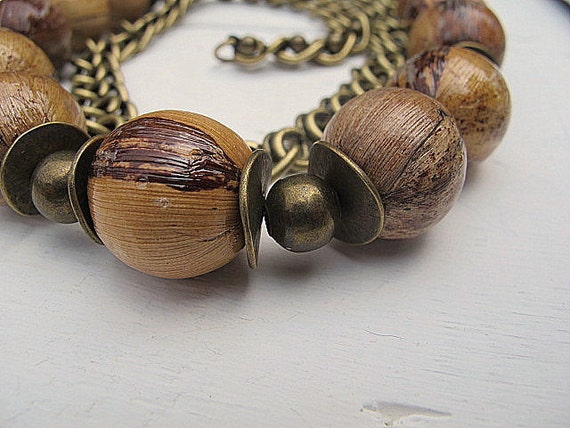 Banana Leaf Necklace with Antique Brass Balls Chain