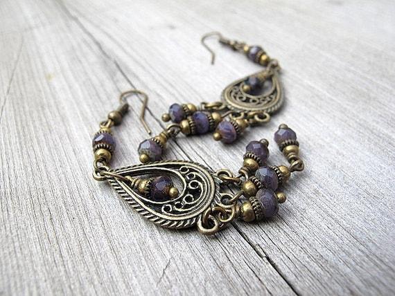 Bohemian Plum Chandelier Earrings: Antique Brass Bohemian Dangles with Lilac Czech Glass