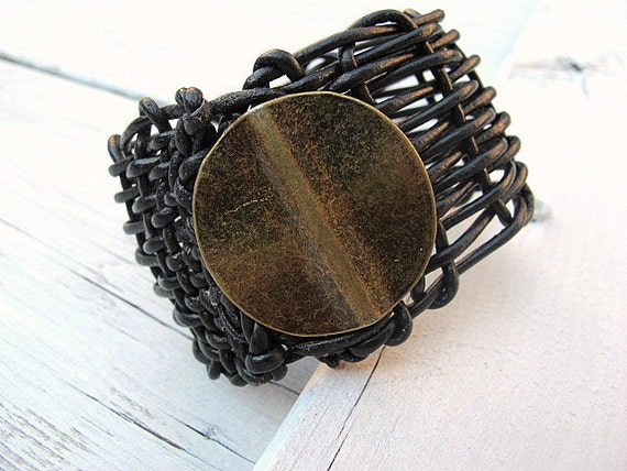 Black Leather Wristband/ Cuff Woven Bracelet with Antique Brass Circle: Harvest Moon