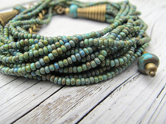 Turquoise Bead Necklace/ Convertible Wrap Bracelet Layered Czech Seed Beads