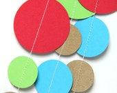Red, Green, Brown & Blue circle garland (15 feet) - READY TO SHIP