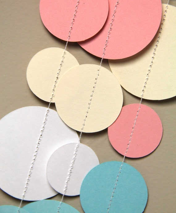 White, Cream, Pink and Blue circle garland (15 feet) - READY TO SHIP