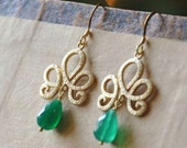 Gold Vermeil Royalty Earrings with Green Onyx Gemstone Briolettes