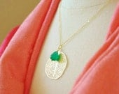 Gold Leaf Filigree Necklace with Green Onyx