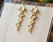 Gold Vermeil Quintuplets Cascading Flower Earrings- Beautiful, nature inspired, botanical piece