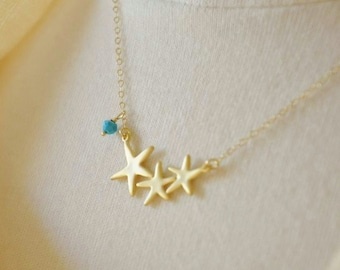 Gold Starfish Necklace- Gold Necklace/ Dainty Necklace/ Turquoise Gemstone Accent/ Cute Necklace/ Beach Necklace