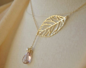 Gold Leaf Lariat Necklace with Pink Mystic Quartz and Freshwater Pearl- Feminine, Dainty Necklace, Bridesmaids Jewelry