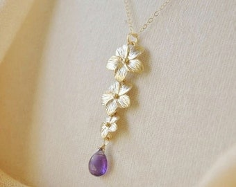 Gold Plumeria Necklace- Gold Necklace, Flower Necklace, Amethyst Necklace, Hawaii Jewelry, Pretty Jewelry