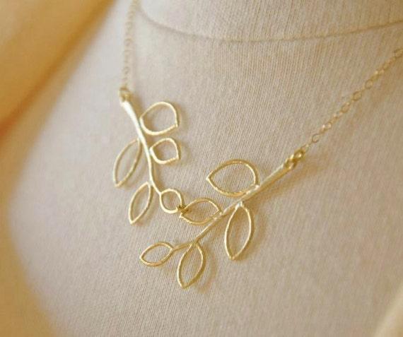 Gold Filled Double Leafy Twig Branch Necklace- Botanical Piece, Nature Inspired, Bridesmaids Gifts
