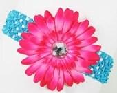 Hot Pink hair bow  and Torquiose headband Flower and Headband Set