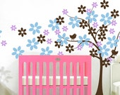 Tree Vinyl Wall Decal Tree with Flowers and Two Birds - Removable Nursery Children Decal Sticker