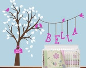 Children Wall Decal - Large Tree with Birds and Custom Name - Vinyl Wall Decal Sticker