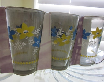 Vintage Juice Glass with Yellow and Blue Flowers
