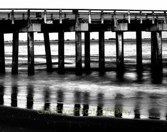 Brooklyn Coney Island Boardwalk, Black and White 8 x 12 Fine Art Print
