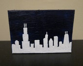 Chicago Skyline Silhouette Painting