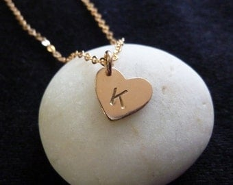Rose Gold Initial Necklace-Rose Gold Personalized Necklace-Heart Initial Necklace-Rose Gold Heart Necklace-Pink Gold Necklace-Momentusny