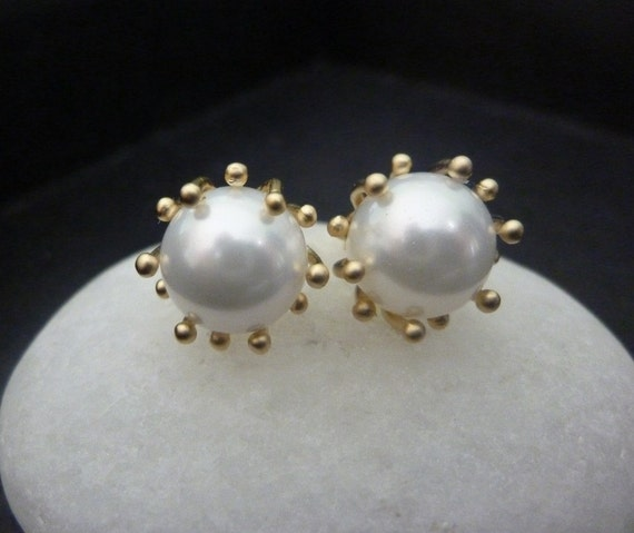 Big Pearl Stud Earrings With Gold Fancy Prong Setting Classic