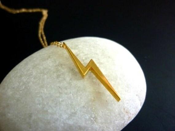 Gold Lightning Bolt Necklace-Lightning Bolt Necklace-Lightning Bolt Charm Necklace-Rose Gold Lightning Bolt Necklace-MomentusNY