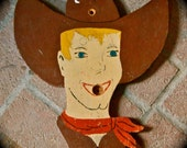 Vintage CARNIVAL COWBOY Folk ART Wood Cut Out