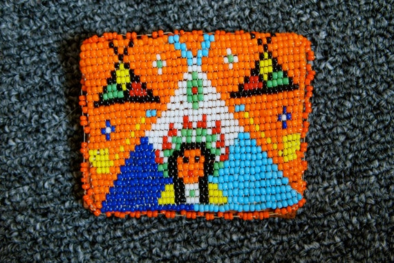Sweet 70's VINTAGE Change Purse BEADED INDIAN Leather