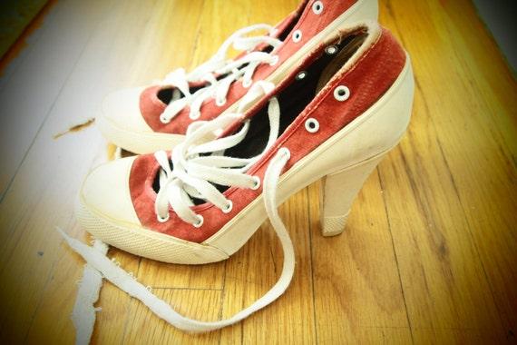 High Heel SNEAKERS NORMA KAMALI Vintage 1980's 7.5 Red Sale