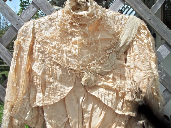 On Hold Gorgeous VICTORIAN JACKET 1800's LACE Shredded Cream Silk Bridal