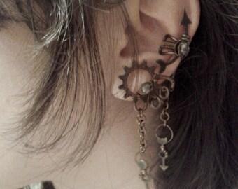 Steampunk Kelpie Faerie Ear Cuff - Mint Green Crystals