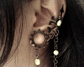 Steampunk Moon Flower Ear Cuff - no piercing customizable with beaded chains