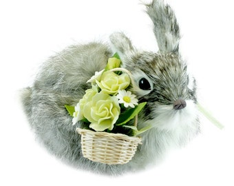 Silver Gray Rabbit with Sunshine Roses and White Daisy Basket, fur animal